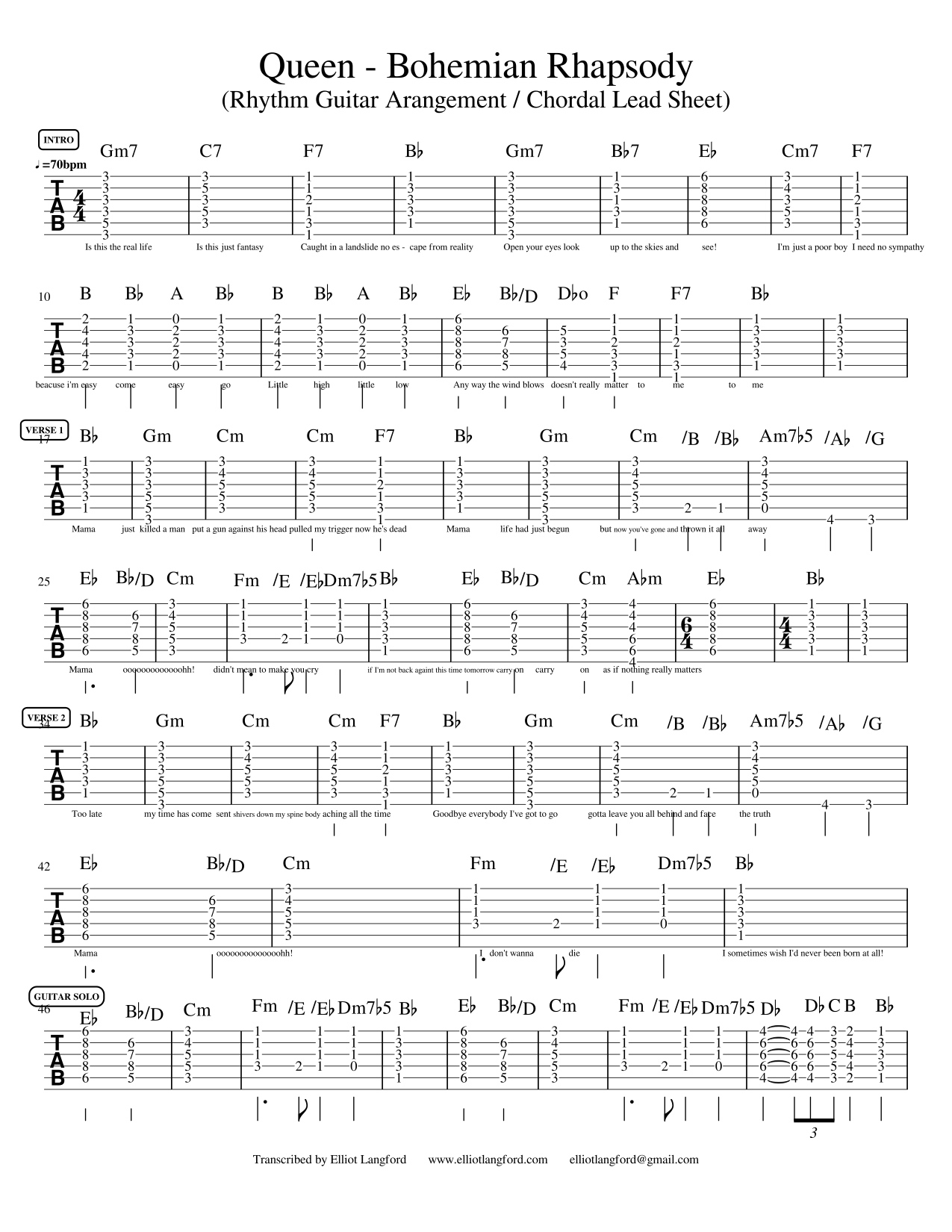 queen bohemian rhapsody acoustic rhythm guitar chords pdf chordal lead sheet elliot langford